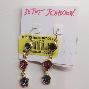 Betsey Johnson New 3 Jewel Linear Earring